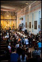 Church interior during festival, Mission San Miguel. California, USA ( color)