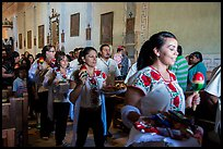 Mexican worshippers during festival, Mission San Miguel. California, USA ( color)