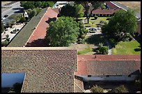 Aerial view of Mission San Miguel roofs and garden. California, USA ( color)