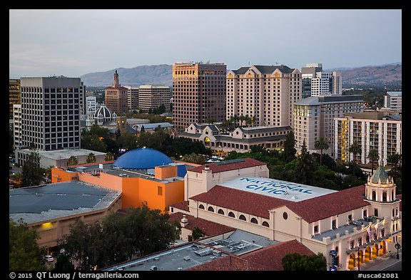 City National Civic and skyline at dusk from above. San Jose, California, USA (color)