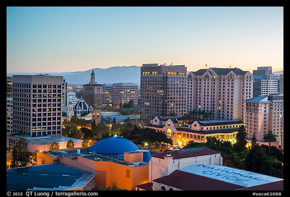 San Jose skyline at dawn. San Jose, California, USA (color)