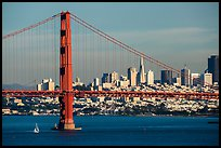 Golden Gate Bridge and San Francisco skyline. San Francisco, California, USA ( color)
