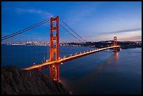 Golden Gate Bridge and San Francisco at dusk. San Francisco, California, USA ( color)