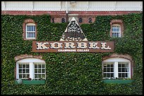 Korbel Champagne Cellars facade with ivy, Guerneville. California, USA ( color)