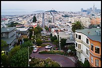 Aerial view of Lombard Street, Coit Tower, and Transamerica Pyramid. San Francisco, California, USA ( color)