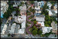 Aerial view of Lombard Street looking down. San Francisco, California, USA ( color)