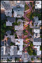 Aerial view of Lombard Street at dusk looking down. San Francisco, California, USA ( color)