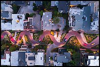 Aerial view of Lombard Street turns at dusk looking down. San Francisco, California, USA ( color)