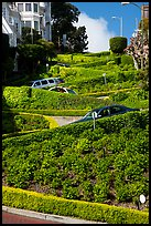 Lombard Street with cars on twists. San Francisco, California, USA ( color)