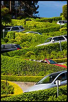 Lombard Street from the bottom with cars on turns. San Francisco, California, USA ( color)