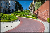 Lombard Street curving roadway. San Francisco, California, USA ( color)