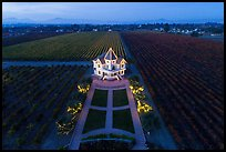 Aerial view of Concannon winery and vineyards at dusk. Livermore, California, USA ( color)