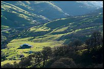 Distant view of barn in valley. Livermore, California, USA ( color)