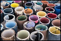 Pots of paint used on Salvation Mountain. Nyland, California, USA ( color)