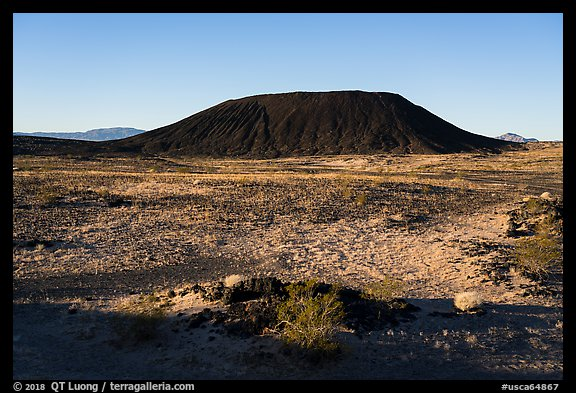 Lava field and Amboy Crater cinder cone. Mojave Trails National Monument, California, USA (color)