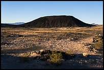 Lava field and Amboy Crater cinder cone. Mojave Trails National Monument, California, USA ( color)