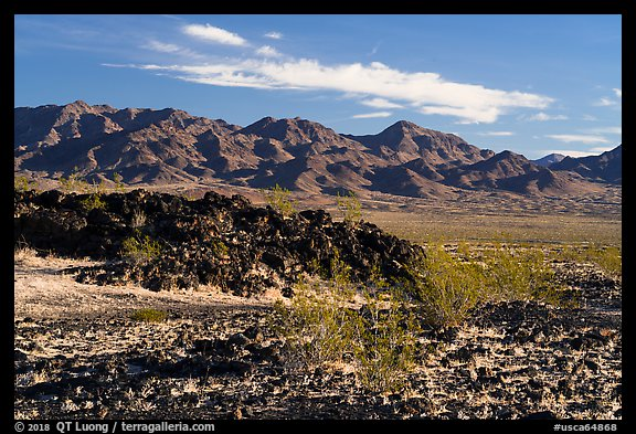 Lava field and mountains. Mojave Trails National Monument, California, USA (color)
