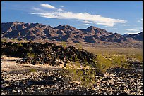 Lava field and mountains. Mojave Trails National Monument, California, USA ( color)