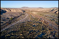 Aerial view of After Canyon with road and railroad. Mojave Trails National Monument, California, USA ( color)