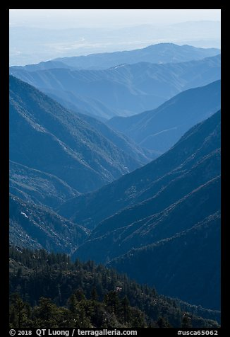 Valley ridges, looking west from crest. San Gabriel Mountains National Monument, California, USA (color)