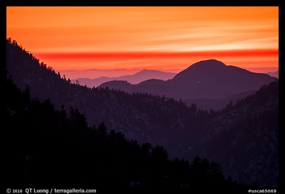 Ridges at sunset. San Gabriel Mountains National Monument, California, USA (color)