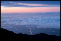 Low clouds above Los Angeles at sunrise from Mount Wilson. Los Angeles, California, USA ( color)