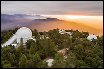 Aerial view of Mount Wilson observatory at sunrise. San Gabriel Mountains National Monument, California, USA ( color)
