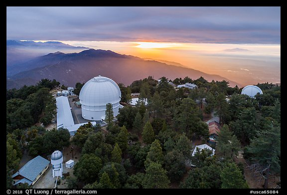 Aerial view of Mount Wilson observatory, mountains, and Los Angeles Basin. San Gabriel Mountains National Monument, California, USA (color)