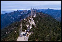 Aerial view of Mount Wilson Antenna farm. San Gabriel Mountains National Monument, California, USA ( color)