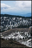 Forested ridges with snow from Snow Mountain. Berryessa Snow Mountain National Monument, California, USA ( )