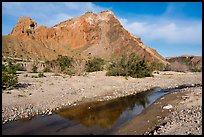 Colorful cliffs rise above the Mojave River in Afton Canyon. Mojave Trails National Monument, California, USA ( color)
