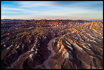 Aerial view of Afton Canyon badlands at sunrise. Mojave Trails National Monument, California, USA ( )