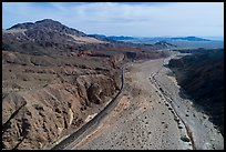 Aerial view of Afton Canyon, railroad, and Mojave River. Mojave Trails National Monument, California, USA ( )