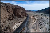 Aerial view of Afton Canyon, rail tracks and roads. Mojave Trails National Monument, California, USA ( color)