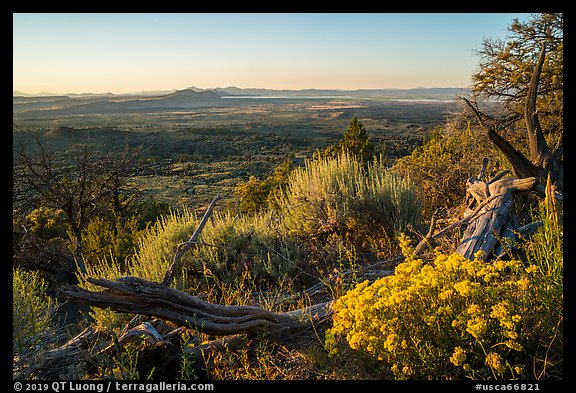 View from Schonchin Butte, sunset. Lava Beds National Monument, California, USA (color)