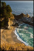 Cove and McWay waterfall dropping on beach, Julia Pfeiffer Burns State Park. Big Sur, California, USA ( color)