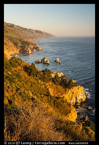 Costline from Partington Point at sunset, Julia Pfeiffer Burns State Park. Big Sur, California, USA (color)