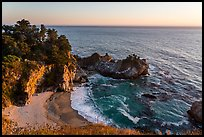 McWay Cove and waterfall at sunset, Julia Pfeiffer Burns State Park. Big Sur, California, USA ( color)