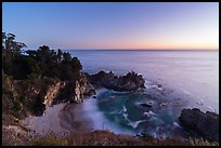 McWay Cove and waterfall at twilight, Julia Pfeiffer Burns State Park. Big Sur, California, USA ( color)