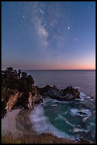 McWay Cove at twilight with Milky Way, Julia Pfeiffer Burns State Park. Big Sur, California, USA ( color)