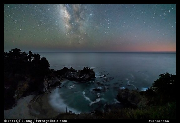 McWay Cove at night with Milky Way, Julia Pfeiffer Burns State Park. Big Sur, California, USA (color)
