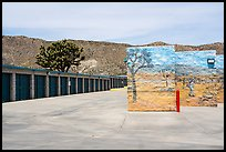 Self-storage units with Joshua trees, Yucca Valley. California, USA ( color)