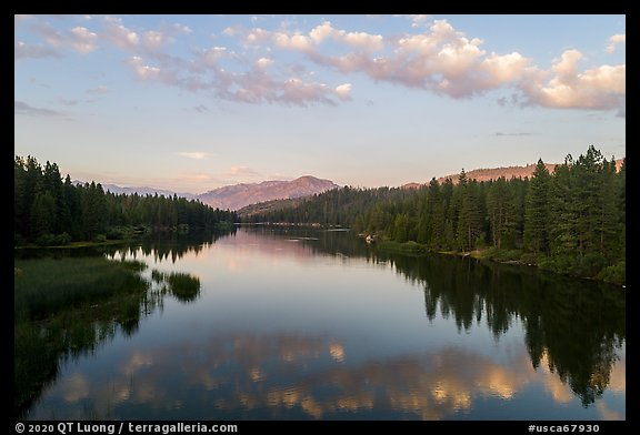 Aerial View of Hume Lake at sunset. Giant Sequoia National Monument, Sequoia National Forest, California, USA (color)
