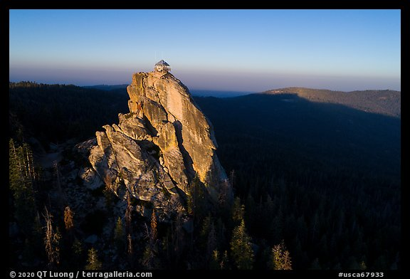 Aerial View of Buck Rock and Lookout at sunrise. Giant Sequoia National Monument, Sequoia National Forest, California, USA (color)