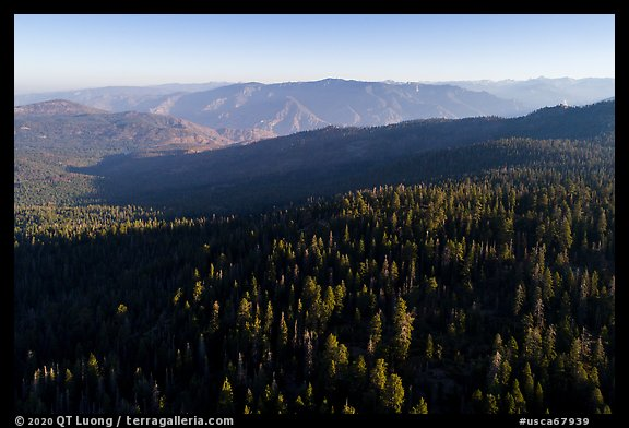 Aerial View of forest and mountains. Giant Sequoia National Monument, Sequoia National Forest, California, USA (color)