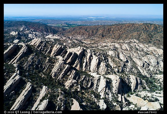 Aerial view of Devils Punchbowl tilted sandstone formation. San Gabriel Mountains National Monument, California, USA (color)
