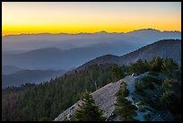 Tent on Devils Backbone with ridges at sunrise. San Gabriel Mountains National Monument, California, USA ( )