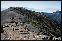 Hiker and trail on Mount Baldy. San Gabriel Mountains National Monument, California, USA ( )