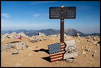 Sign and flags on Mt Baldy summit. San Gabriel Mountains National Monument, California, USA ( )