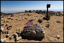 Marker on Mount San Antonio top. San Gabriel Mountains National Monument, California, USA ( )